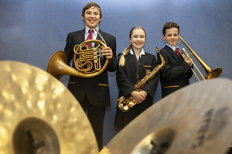 A student music ensemble from Marist Catholic College North Shore gets ready to perform at Sydney Catholic School's first eisteddfod.